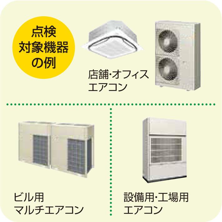 点検対象機器の例店舗・オフィスエアコンビル用マルチエアコン設備用・工場用エアコン